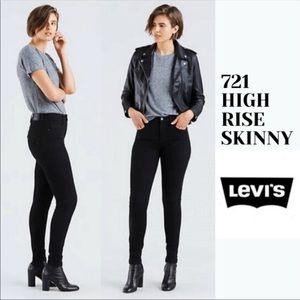 Levi's 721 High Rise Skinny Jeans Black Sz 27